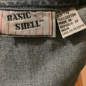 Vintage Jackets & Coats - Vintage Basic Shell 100% Cotton Denim Vest
